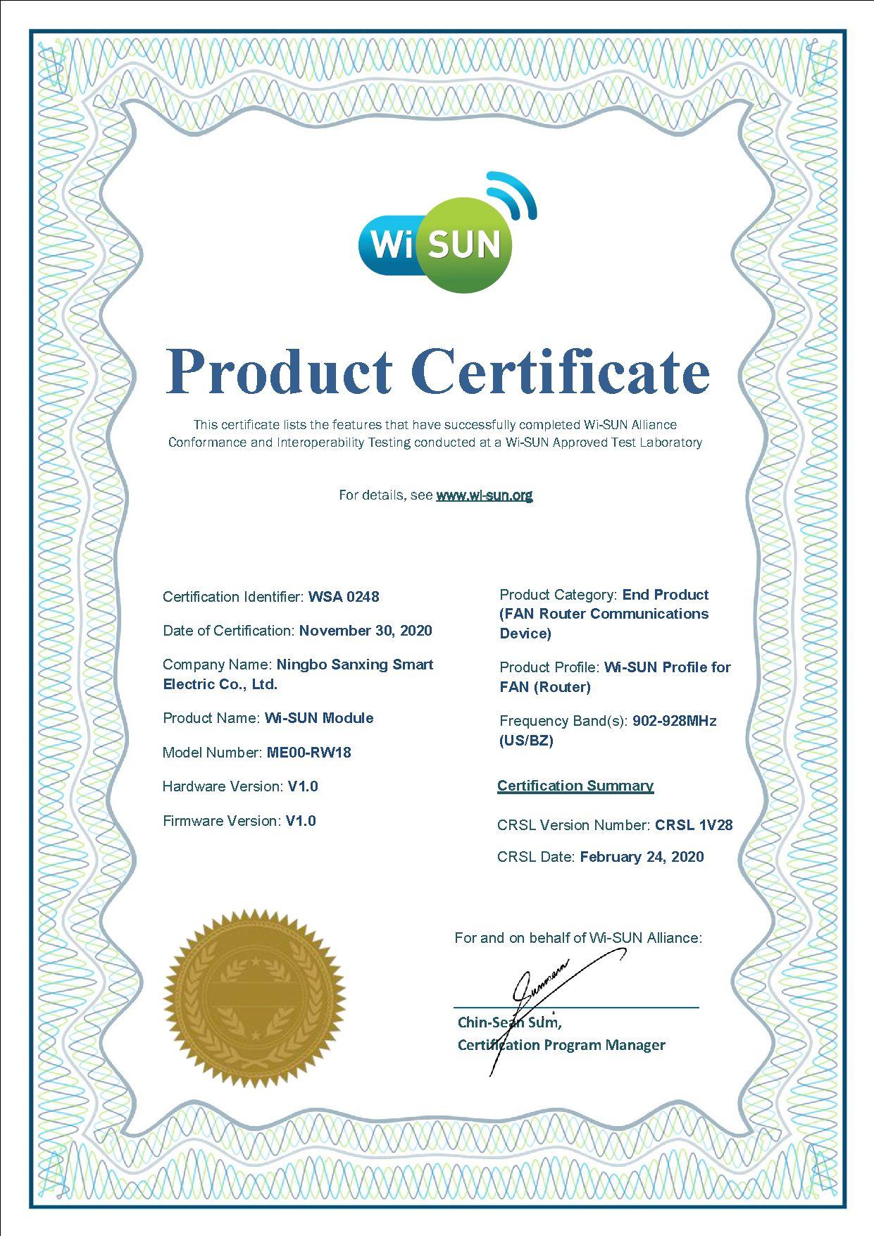 Solução em smart grid da Sanxing recebe certificado Wi-SUN Alliance FAN 1.0
